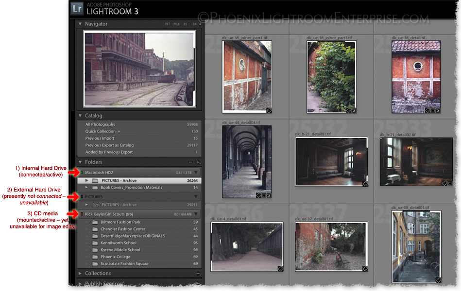 a look at the folders panel in the lightroom library module